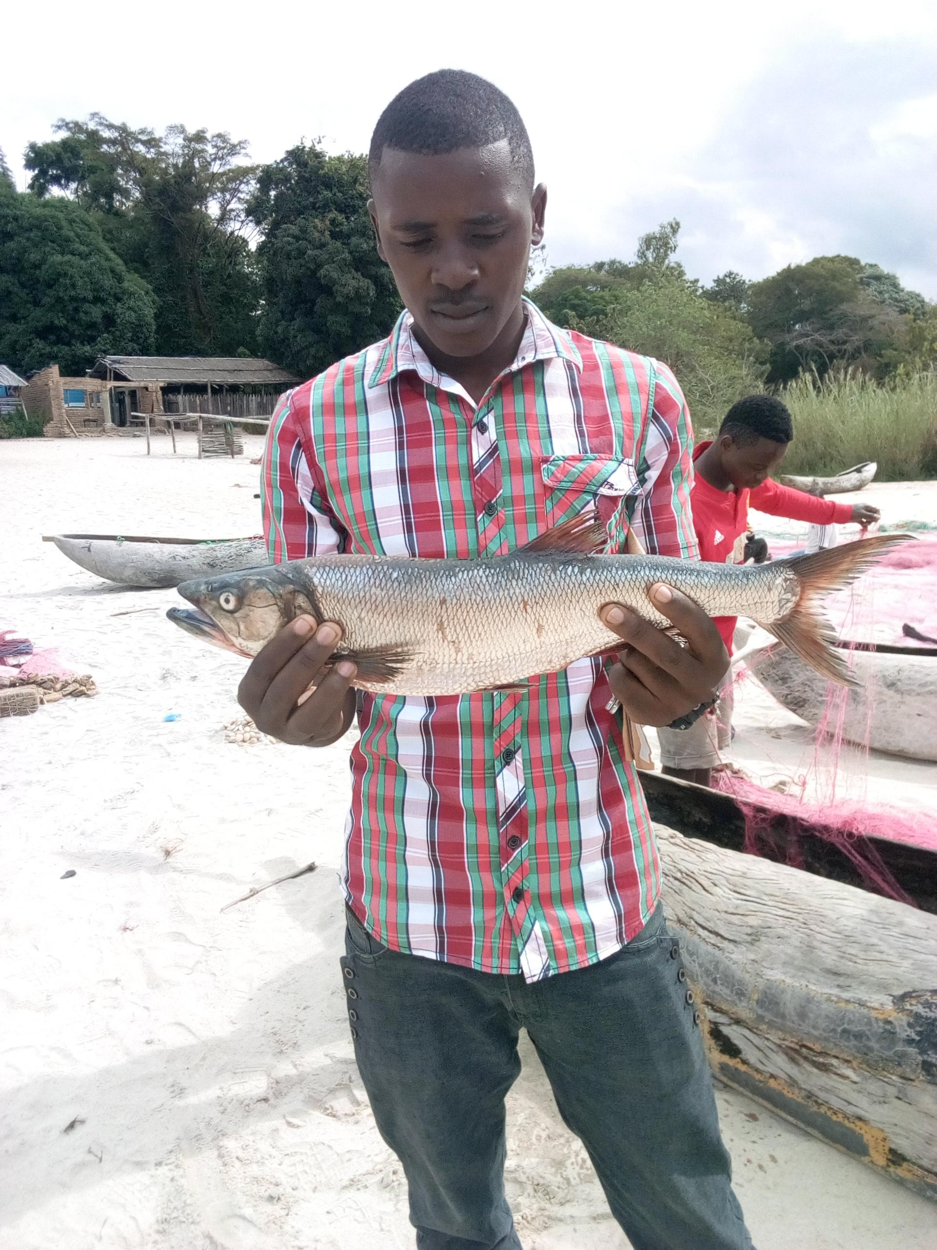 Sammy holding Mpasa fish at Kaweta