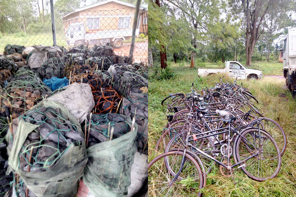 Confiscation of 42 bags of charcoal and 14 bikes
