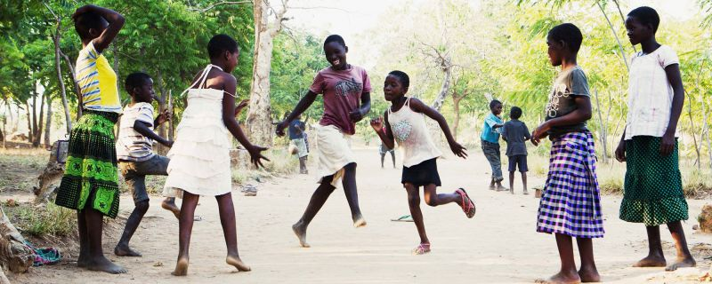 Primary school students at play time in Malawi