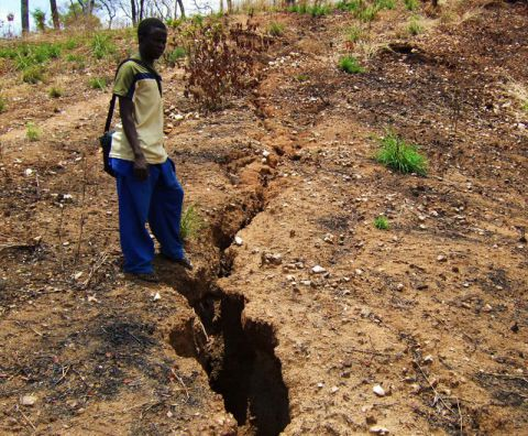 Gully erosion due to deforestation in malawi