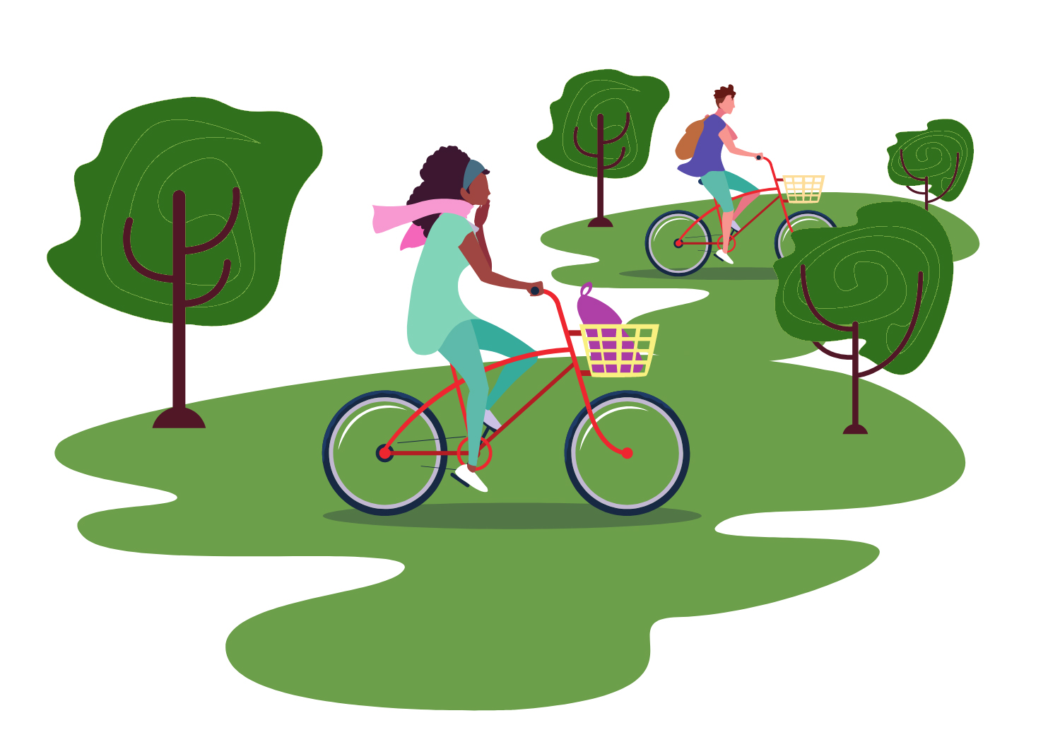 Two people cycling in a forest have less carbon offsetting to do