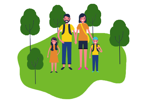 Family in a park have less carbon offsetting to do