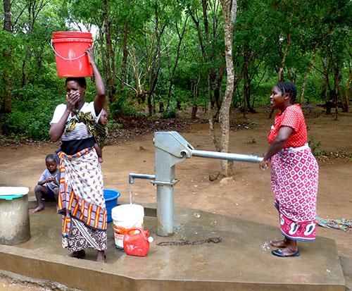 Borehole repair in Malawi