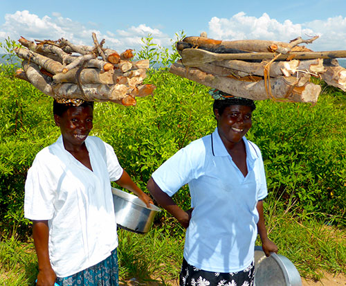 Two women in Malawi carry firewood on their heads