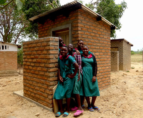New female toilet at a primary school in Malawi