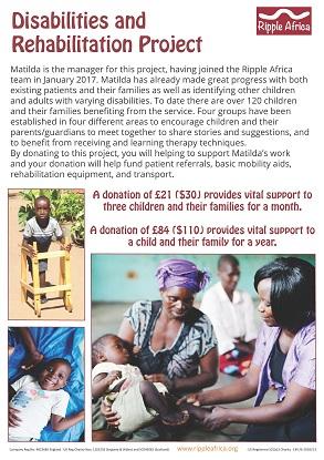 Disabilities fundraising sheet