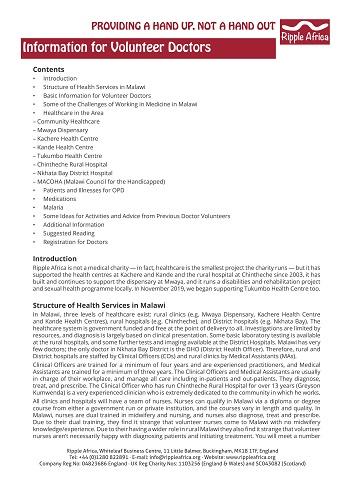 Information sheet for volunteer Doctors