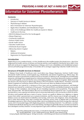 Information sheet for volunteer physiotherapists