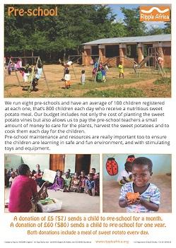 Preschool fundraising sheet