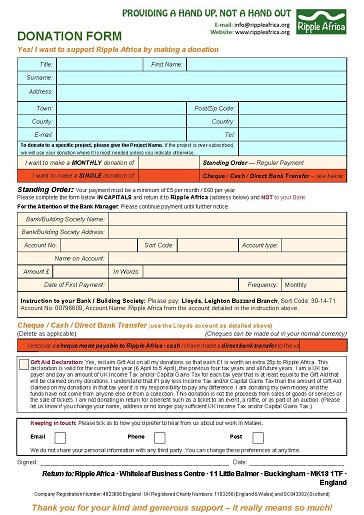 Donation form UK
