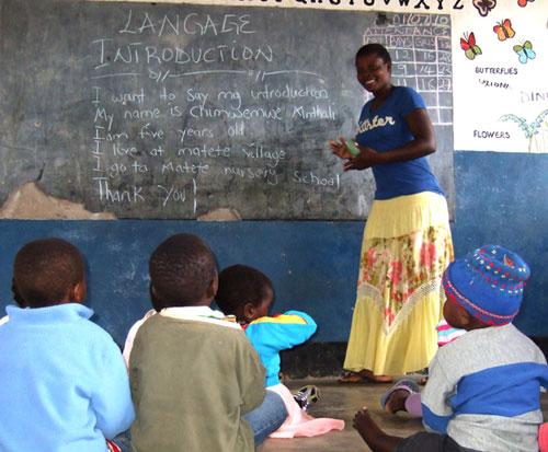 Ellen teaching at preschool in 2010